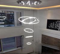 luzes modernas do círculo do teto venda por atacado-HOT 5 anel círculo Modern minimalista penthouse piso sala de estar levou luzes de teto criativo villa longo luzes da escada circular