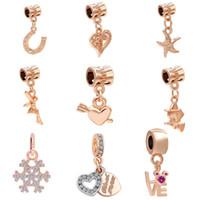 Wholesale starfish beads bracelet - Free Shipping MOQ 20pcs rose gold Starfish Angel Magic Girl hanging Bead Charms fit Original Pandora Bracelet Jewelry DIY N005