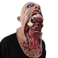 rostos zombis para halloween venda por atacado-2018 Máscara de Zumbi Ensanguentado Máscara de Látex de Fusão Adulto Fato de Andar Horror Morto Halloween Tricky Brinquedos Assustadores