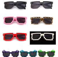 Wholesale mirrors children - 9 colors Vintage Mosaic Sunglass for kids Adults Square Novelty Unisex Pixel Sunglasses Trendy Minecraft Glasses show props Children Gift
