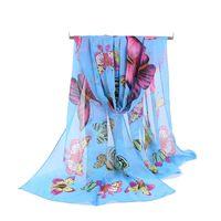 Wholesale Girls Beach Cover - Silk Chiffon Scarf Women Girl Long Scarves New Butterfly Animal Printe Sarong Wrap Beach Cover 160*50cm