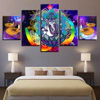 lienzos coloridos al por mayor-HD Impreso Canvas Wall Art Poster Home Decor 5 Piezas de Ganesha Hindú Ganesha Colorful Abstract Paintings Diwali Pictures Framework
