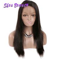 ingrosso parrucche del merletto di base di seta di qualità-Parrucche brasiliane dei capelli umani di Shesbeauty per le donne nere di buona qualità Parrucche diritte dei capelli di Remy Parrucche anteriori del merletto della base di seta 100% capelli brasiliani