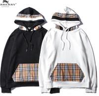 örgü moda trendi toptan satış-2018 sonbahar yeni kapşonlu kazak erkekler ve kadınlar trend ekose moda vahşi gömlek