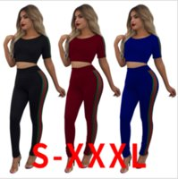 Wholesale Sexy Tracksuits - Sexy Night Club Women Tracksuits Striped Printed Women Short Sleeve Crop Shirt With Skinny Pant 2pc Set Casual Suit