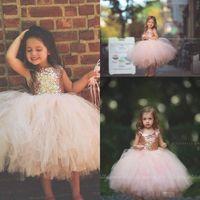 vestidos de lentejuelas rosa niñas al por mayor-2018 Blush Pink Tutu Flower Girls Vestidos Brillantes Rosa de Oro Lentejuelas Little Toddler Infantil Princesa Primera Comunión Vestido de fiesta de bodas