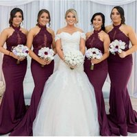 Wholesale elegant halter lace wedding dress for sale - Burgundy Mermaid Bridesmaid Dresses Elegant Arabic Halter Neck Lace Appliques Wedding Guest Party Dresses Vestido de Feista