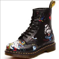 ingrosso stivali piatti di pirata-2017 nuova moda femminile Martin stivali pirata nave stampa selvatici donne britanniche fondo piatto stivali alti brevi singoli stivali