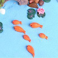 lotus bonsai toptan satış-10 adet Reçine Zanaat Balık Lotus Gölet Peri Bahçe Minyatürleri Akvaryum Bonsai Aracı Teraryum Figürinler jardin Ev Aksesuarları Mikro Manzara