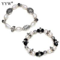 грушевые прелести оптовых-100% Natural Freshwater Cultured Pearl Bracelet Pear Crystal Antique Mix  Charm Bracelet Women Fashion Statement Jewelry