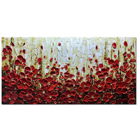 Wholesale texture abstract panel paintings for sale - Texture Palette Knife Red Flowers Paintings Home Decor Wall Art Colorful D Flowers Wall Decoration Abstract Painting