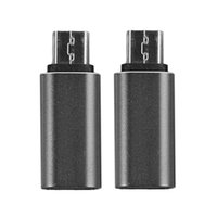 Wholesale Shell Connectors - 2pcs USB C Type C Female to Micro USB Male Aluminum Alloy Shell Connector Converter Adapter for Nexus Black Color