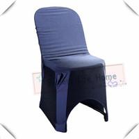 ingrosso coperte di sedia a banchetto blu navy-Coperture di colore blu navy Il trasporto libero 50pcs coperture universali della sedia della sedia del banchetto di Strech per la festa all'aperto di plastica della sedia