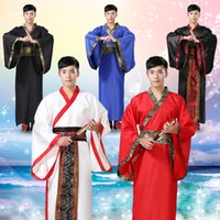 alte chinesische kostüme frauen großhandel-2018 neue alte traditionelle chinesische Volkstanz Tanzkostüm Kostüme langes Kleid Hanfu Löwen China Kleidung Frau Männer