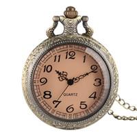 ingrosso esposizione in bronzo-Miglior regalo Half Hunter Modern Bronze Quartz Orologio da tasca rotondo bianco arabo numeri analogici Display orologio regali con orologi collana