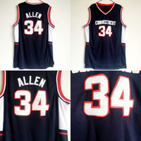 ingrosso maglie da basket ventilatore-Uomini Basket 34 Ray Allen College Maglie Uconn Connecticut Huskies Allen Jersey Blu scuro squadra di colore tutti cuciti per gli appassionati di sport