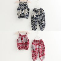 Wholesale outfits suspenders online - Girls Camisole Clothing Sets Suspenders Top Pants Jacquard Elephant Cartoon Printed Beach Summer Baby Kids Suits Outfits T