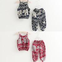 karikatür fil elbisesi toptan satış-Kızlar Kaşkorse Giyim Setleri Jartiyer Üst Pantolon Jakarlı Fil Karikatür Baskılı Plaj Yaz Bebek Çocuk Kıyafetler 2-8 T Suits