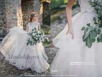 Wholesale bodice style tops online - Romantic Bohemian Wedding Gowns New Arrival Elegant Boho Style Country Weddings Ruffles Tiered Tulle A Line Lace Tops Beach Bridal Gown