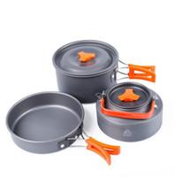 kamp setleri toptan satış-Açık taşınabilir tencere seti Kamp Yürüyüş Tencere Sırt Çantasıyla Pişirme Piknik Pot Pan demlik Set FFA440