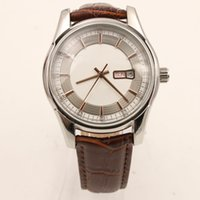 Wholesale fly shows - Luxury Men's Watch 41MM White Dial Week Calendar Show Butterfly Flying Style Leather Strap Transparent Sapphire Mirror Folding Buckle