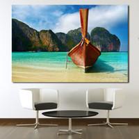schöne wohnkultur bilder großhandel-Poster Und Drucke Rahmenlose Schöne Insel Landschaft Natur Ozean Ölgemälde Leinwand Home Decor Wandbilder Kein Rahmen