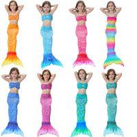 Wholesale costumes for kids free shipping - 2018 Girls Mermaid Tail Swimwear Bikini 3PCS SET Swimsuit Swimming Costumes For Kids Girls Free Shipping