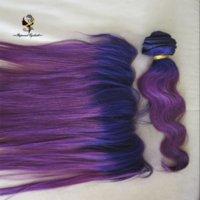 cheveux brésiliens violet foncé achat en gros de-Oreille à oreille dentelle frontale brésilienne cheveux humains deux tons bleu foncé / violet ombre dentelle frontale fermeture