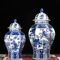 Wholesale Porcelain Blue Ceramic Vases - Jingdezhen temple jar porcelain ceramic decoration jar Chinese Antique ginger vase hexagon type blue and white