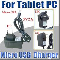 ingrosso compresse telefoniche da 4g-Micro USB 5V 2A Convertitore di corrente Convertitore di corrente US EU UK plug AC Per 7