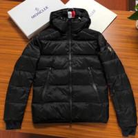 zip mens hoodies ceket toptan satış-2018 yeni Tasarımcı Kış erkek MONC Siyah aşağı ceket Zip Sıcak Kalın Yüksek Kaliteli Hoodie Rahat Gevşek Erkek Ceket Kaban yüksek kalite ceketler