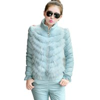 Wholesale real fur suits - High Quality Real Fur Winter Women Suits Jacket 2017 Casual Tracksuits Three Piece Women Sets Thicke Down Vest Suit Women A534