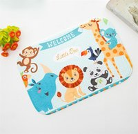 Wholesale Make Table Mats - Cartoon bath mat Multi-functional coral velvet cushion Bathroom bedroom living room tea table mat 5 styles 43*43cm pad