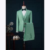 стильные мужские смокинги оптовых-2018 Latest Coat Pant Designs Mint Green Men Suit Slim Fit 3 Piece Stylish Tuxedo Custom Groom Suits Prom Blazer Terno Masculino