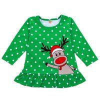 vestidos de lótus venda por atacado-Bebê Ruffle Vestido De Natal Bebê Recém-nascido Menina Roupas de Grife Pontos Rena Chapéu De Papai Noel Elk Appliqued Bordar Folha De Lótus Mini Vestidos 6 M-5 T