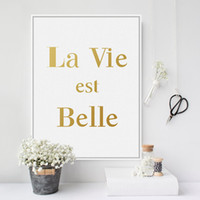 Wholesale Quote Canvas - Modern Minimalist French Gold Beautiful Life Quotes A4 Large Canvas Art Print Poster Wall Pictures Home Decor Painting