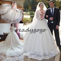 Wholesale michael cinco resale online - Luxury Lace royal Wedding Dresses Cathedral Train Long Sleeves Glamorous White Vestidos De Noiva Michael Cinco Arabic Bridal Gowns