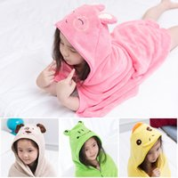 Wholesale fleece baby hats resale online - In Stock Cartoon Coral Fleece Baby Bath Towel Cape Baby Cloak Children Body Robes With Animal Cute Ear Hats cm Fast Drying Absorbent