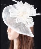sinamay şapkalar büyüleyici toptan satış-21 Renkler sinamay şapkalar kadınlar için tüy saç aksesuarları fantezi düğün fascinators düğün şapkalar gelin şapkalar yarışları OF1539