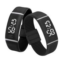 светодиодные спортивные часы браслет оптовых-Splendid  Electronic Watch Watches Mens Womens Rubber LED Watch Date Sports Bracelet Digital Wrist relogio masculin