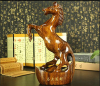 ornements de cheval d'or achat en gros de-Sculpture sur bois massif immédiatement ornements artisanat en acajou 12 Zodiac volé richesse cheval cheval en or chanceux