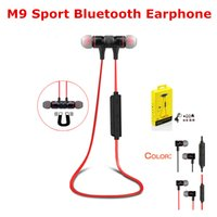 Wholesale General Wireless - M9 Wireless Bluetooth Earphone Earbuds Headset With Microphone Sport Running Stereo Handsfree for Universal Samsung Xiaomi General Earphones