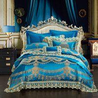 königsgröße royal blau bettwäsche gesetzt großhandel-4/6 / 10Pcs Lace Blue Oriental Luxury Bettbezug-Set Hochzeit Royal Queen King Size Bettwäsche Set Bettlaken / Verbreitung 38