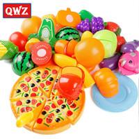 plastik er toptan satış-QWZ 24 Adet Plastik Meyve Sebze Klasik Mutfak Kesme Oyuncaklar Erken Gelişim ve Eğitim Oyuncak Bebek Çocuk Çocuk Hediyeler Için