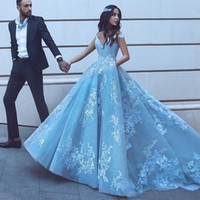 Wholesale baby dresses special occasions resale online - Elegant Off Shoulder Prom Dresses Arabic New Modest Lace Baby Blue Appliques A Line Long Formal Evening Gowns Special Occasion Dress