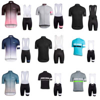 Wholesale Sleeved Bibs - 2018 Rapha new summer bike short-sleeved breathable quick-drying men and jacket bib short sets belt riding suit C0807