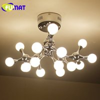 Wholesale contemporary glass shade pendant light - FUMAT Tree Branch Pendant Lamp Glass Ball LED Longree Attractive Glass Shade Pendant Light G4 Indoor Living Room Lamps Free Shipping