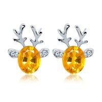nägel edelsteine großhandel-Ohrring Kristall Jewel Antler Ohrringe Luxuriöse Weihnachten Rentier Ohrringe für Damen Nagel Edelstein