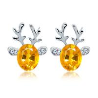 uñas piedras preciosas al por mayor-Pendiente Crystal Jewel Antler Pendientes lujosos anillos de oreja de reno de Navidad para damas Piedra preciosa de uñas