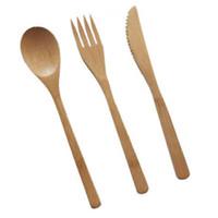 colheres de geléia venda por atacado-Novo conjunto de talheres de bambu colher de bambu natural garfo faca conjunto de jantar adulto estilo japonês talheres de bambu talheres